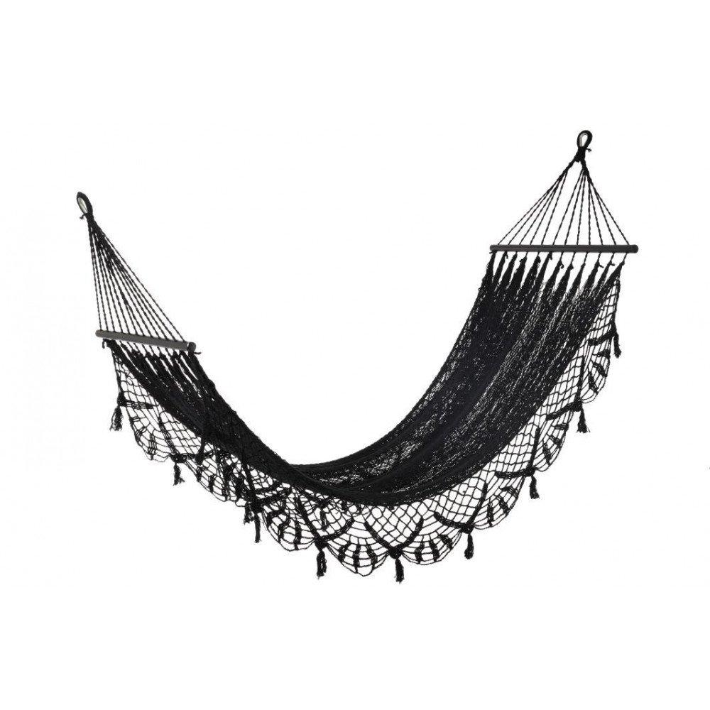 Hamac Crochet Coton Noir | www.cosy-home-design.fr