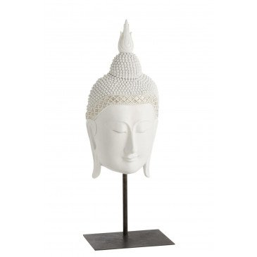 Bouddha Tête Sur Pied Résine Blanc | www.cosy-home-design.fr