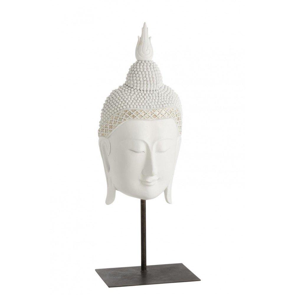 Bouddha Tête Sur Pied Résine Blanc   www.cosy-home-design.fr
