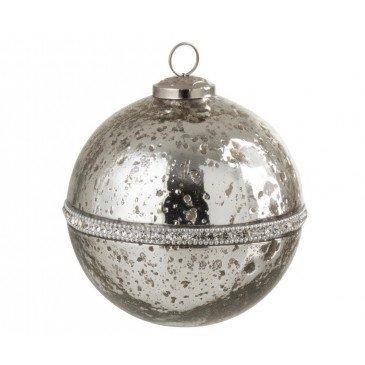 Boule De Noël Diamant Verre Argent Large | www.cosy-home-design.fr