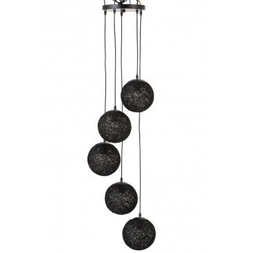 Suspension 6 Boules Rotin Noir | www.cosy-home-design.fr