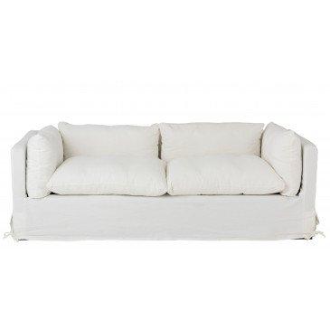 Canapé 2 Personnes Bouleau/Textile Blanc | www.cosy-home-design.fr