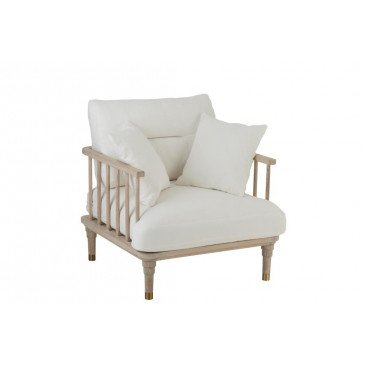 Fauteuil 1 Personne Chene/Textile Blanc | www.cosy-home-design.fr