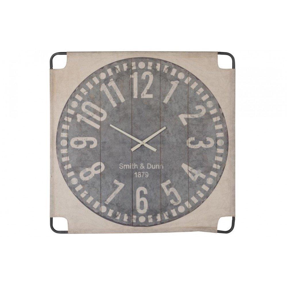 Horloge Murale Canevas Grand Textile Beige/Gris   www.cosy-home-design.fr