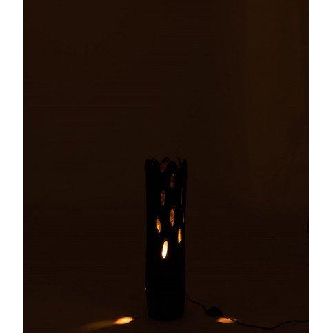 Lampe De Table Tronc Avec Trous Bois Paulownia Noir | www.cosy-home-design.fr