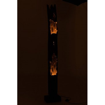 Lampe Tronc 2 Ouvertures Bois Paulownia Noir | www.cosy-home-design.fr