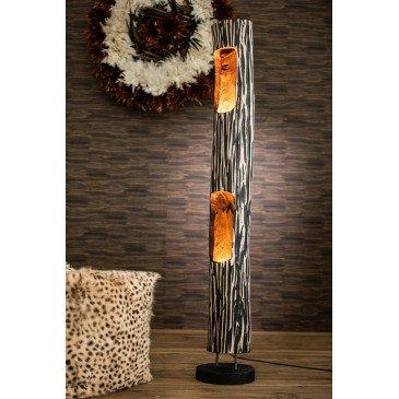 Lampe Tronc Ouvert 2 Trous Paulownia Raye Noir Beige | www.cosy-home-design.fr