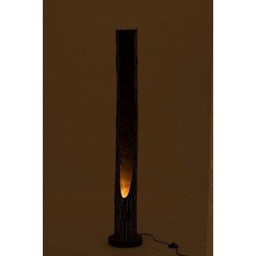Lampe Tronc Ouvert Paulownia Raye Noir Beige | www.cosy-home-design.fr