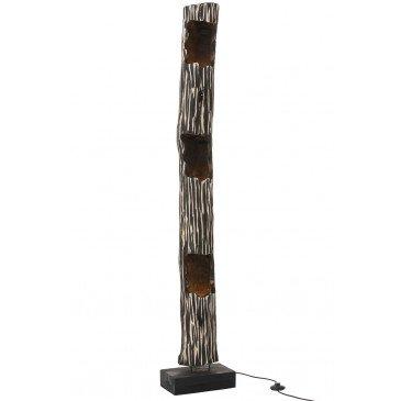 Lampe Tronc Ouvert 3 Trous Paulownia Raye Noir Beige | www.cosy-home-design.fr