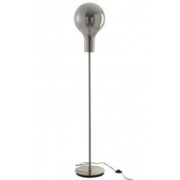 Lampe Sur Pied Globe Verre/Métal Gris/Argent | www.cosy-home-design.fr