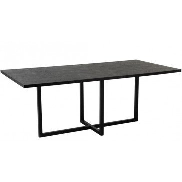 Table A Manger Rectangulaire Pied Central MDF/Métal Noir | www.cosy-home-design.fr