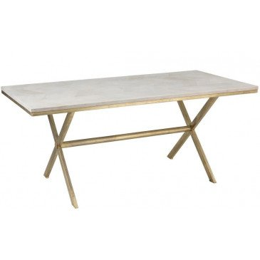 Table A Manger Dyca Bois De Manguier/Métal Blanc/Or | www.cosy-home-design.fr