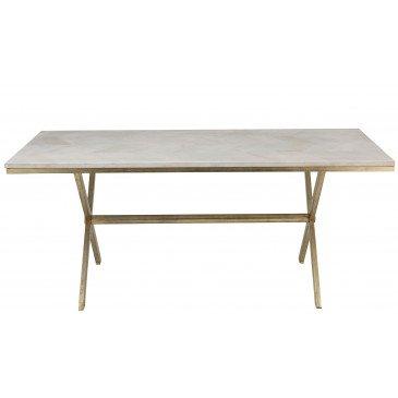 Table A Manger Dyca Bois De Manguier/Métal Blanc/Or | www.cosy-home-design.fr