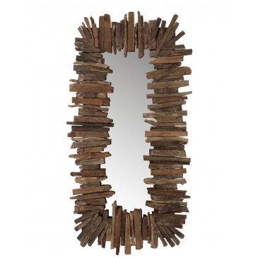 Miroir Rectangulaire Morceaux Bois Recyclé Marron Petit | www.cosy-home-design.fr