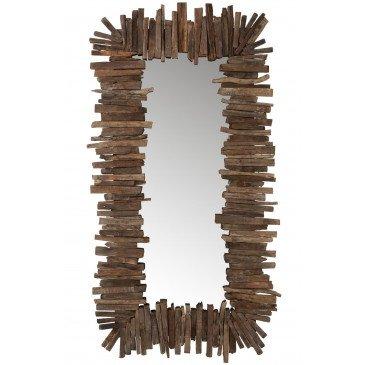 Miroir Rectangulaire Morceaux Bois Recyclé Marron Large | www.cosy-home-design.fr
