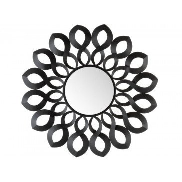 Miroir Marie Rond Métal/Verre Noir | www.cosy-home-design.fr