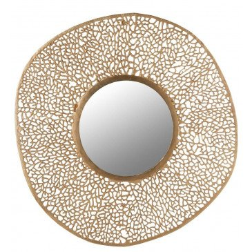 Miroir Corail Rond Aluminium/Verre Or | www.cosy-home-design.fr