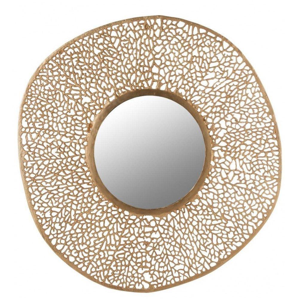 Miroir Corail Rond Aluminium/Verre Or   www.cosy-home-design.fr