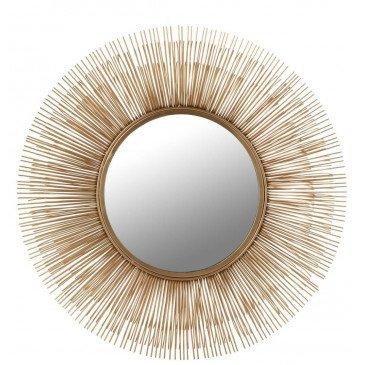 Miroir Barres Fines Rond Aluminium/Verre Or | www.cosy-home-design.fr