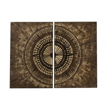 Set De 2 Peintures Cercle Canevas/Bois Marron/Or | www.cosy-home-design.fr