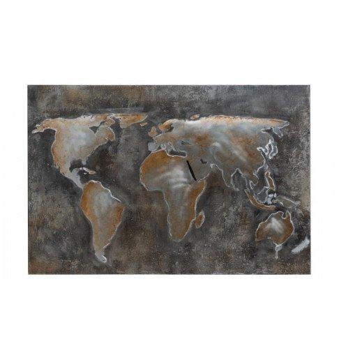 Peinture Monde Abstrait Canevas/Métal Gris/Marron | www.cosy-home-design.fr
