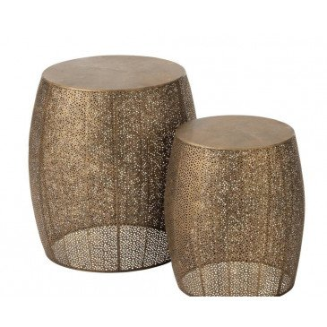 Set De 2 Tabourets Rond Métal Antique Or | www.cosy-home-design.fr
