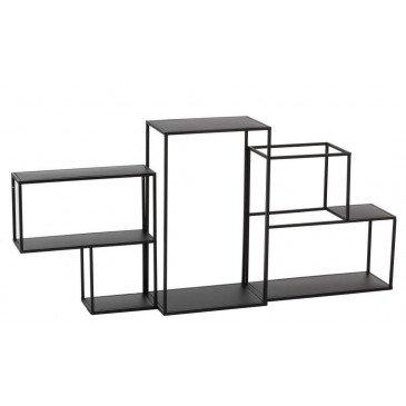 Etagère Suspendue 3 Parties Modulaire Métal Noir | www.cosy-home-design.fr