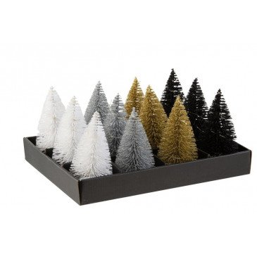 Display 12 Sapins De Noël et Led Paillettes Plastique Noir/Argent/Or | www.cosy-home-design.fr
