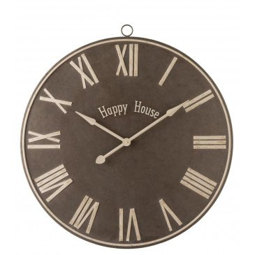 Horloge Happy House Métal Marron Large | www.cosy-home-design.fr