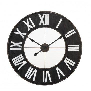 Horloge Chiffres Romains Métal Noir/Miroir | www.cosy-home-design.fr
