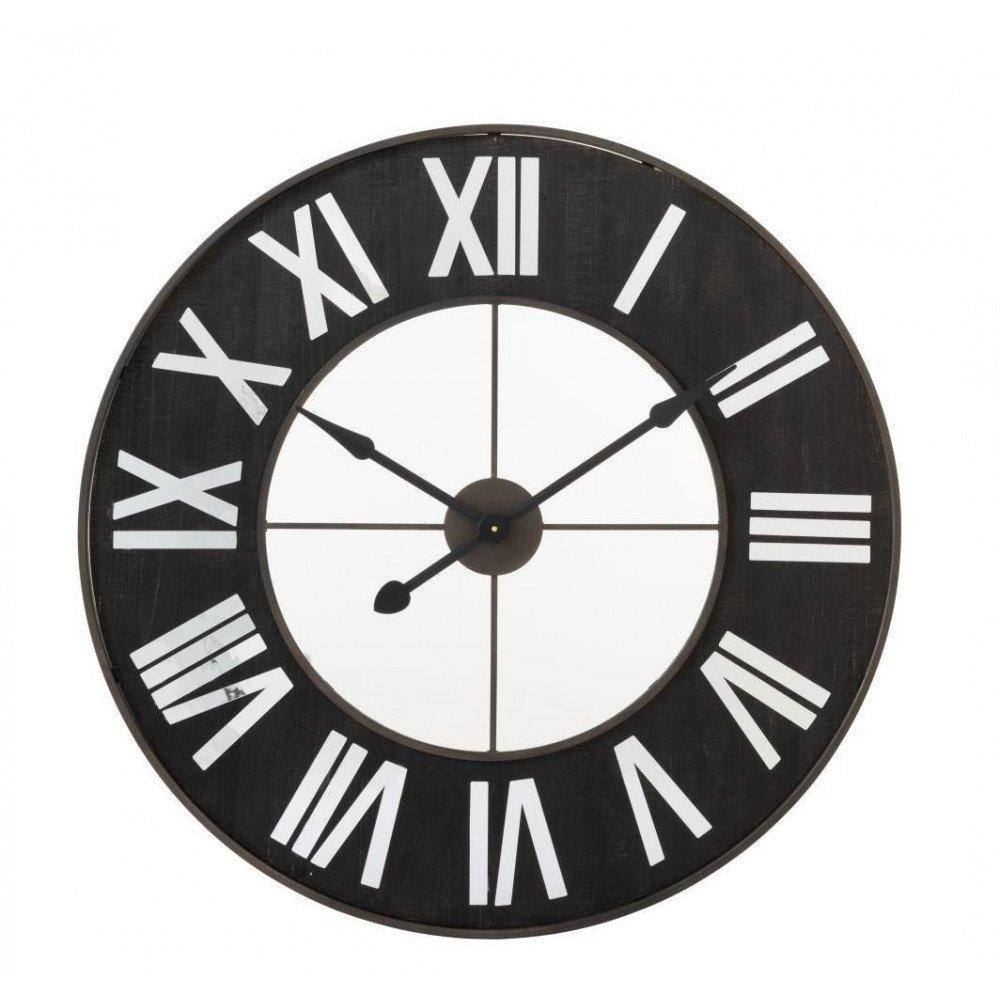 Horloge Chiffres Romains Métal Noir/Miroir   www.cosy-home-design.fr