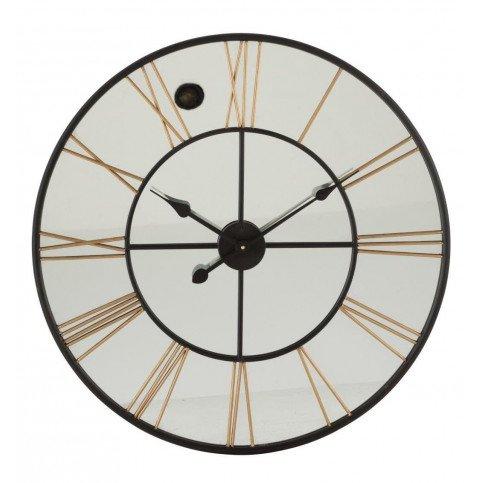 Horloge Chiffres Romains Miroir/Métal Noir/Or | www.cosy-home-design.fr