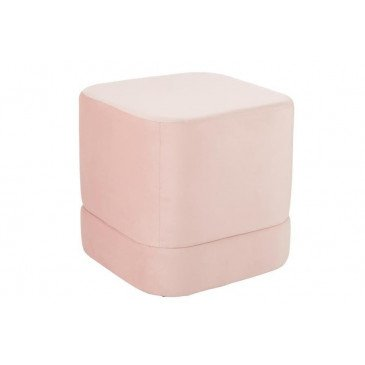 Pouf Carré Haut Velours Rose | www.cosy-home-design.fr