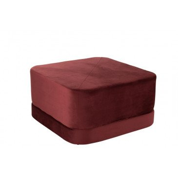 Pouf Carré Bas Velours Rouge | www.cosy-home-design.fr