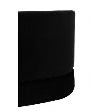 Pouf Carré Bas Velours Noir | www.cosy-home-design.fr