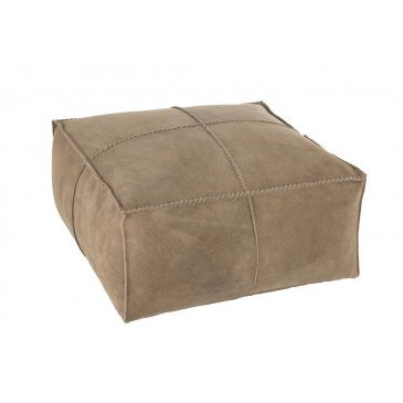 Pouf Point Carré Cuir Beige | www.cosy-home-design.fr
