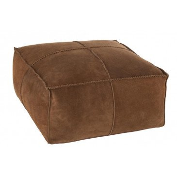 Pouf Point Carré Cuir Cognac | www.cosy-home-design.fr