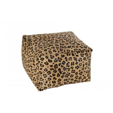 Pouf Leopard Carré Cuir Mix | www.cosy-home-design.fr