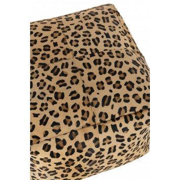 Pouf Leopard Carré Cuir Mix | www.cosy-home-design.fr
