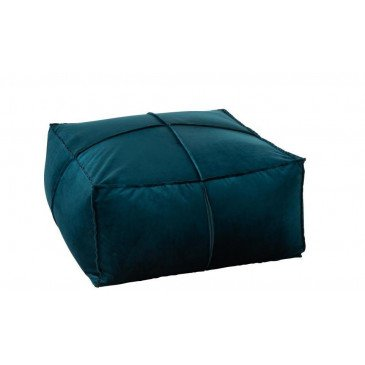 Pouf Carré Velours Petrole | www.cosy-home-design.fr