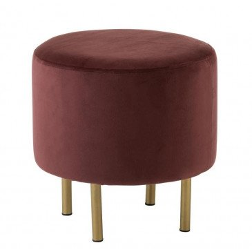 Pouf Pied Rond Velours Marsala Petit | www.cosy-home-design.fr