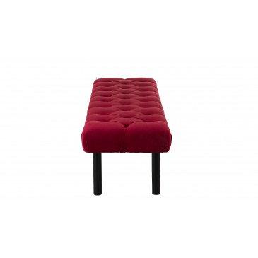 Repose-Pieds Long Velours Rouge/Noir | www.cosy-home-design.fr