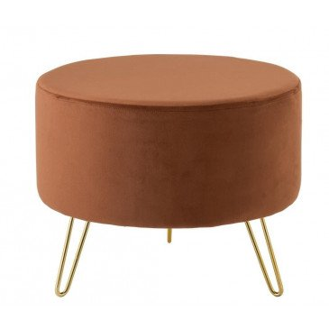 Pouf Pied Rond Velours Orange/Noir | www.cosy-home-design.fr