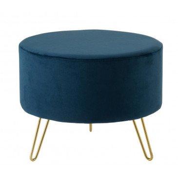 Pouf Pied Rond Velours Bleu/Noir | www.cosy-home-design.fr