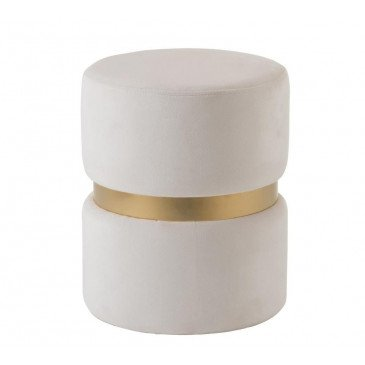 Pouf Rond Velours Blanc/Or | www.cosy-home-design.fr