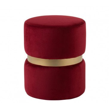 Pouf Rond Velours Rouge/Or | www.cosy-home-design.fr