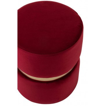 Pouf Rond Velours Rouge/Or   www.cosy-home-design.fr