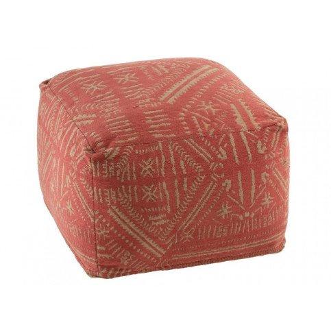 Pouf Ethnique Imprimés Coton Orange/Beige | www.cosy-home-design.fr