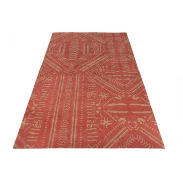 Tapis Ethnique Imprimés Coton Orange/Beige | www.cosy-home-design.fr