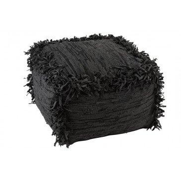 Pouf Crochete Carré Cuir Noir | www.cosy-home-design.fr